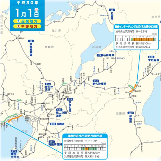 2018年1月1日の渋滞予測