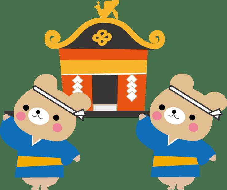 無料フリー夏祭り関連イラストうちわおみこし花火盆踊り金魚